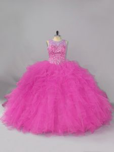 Lace Up Quinceanera Dress Fuchsia for Sweet 16 and Quinceanera with Beading and Ruffles