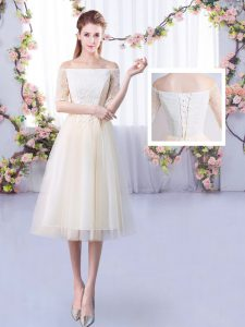 Sweet Tulle Half Sleeves Ankle Length Dama Dress and Lace
