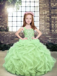 Excellent Sleeveless Tulle Floor Length Lace Up Little Girl Pageant Dress in Yellow Green with Beading and Ruffles