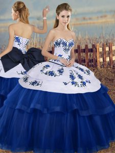 Custom Made Tulle Sweetheart Sleeveless Lace Up Embroidery and Bowknot Womens Party Dresses in Royal Blue