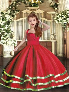 Red Sleeveless Tulle Lace Up Girls Pageant Dresses for Party and Wedding Party