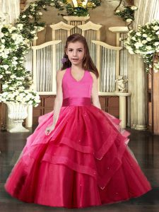 Hot Pink Sleeveless Tulle Lace Up Evening Gowns for Party and Sweet 16 and Wedding Party