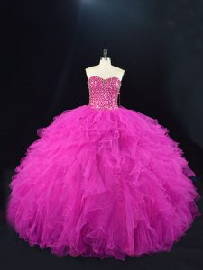 Free and Easy Fuchsia Tulle Lace Up Sweetheart Sleeveless Floor Length Sweet 16 Dress Beading and Ruffles