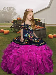 Fashion Fuchsia Ball Gowns Organza Straps Sleeveless Embroidery and Ruffles Floor Length Lace Up Girls Pageant Dresses