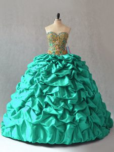 Gorgeous Lace Up Quinceanera Dresses Turquoise for Sweet 16 and Quinceanera with Beading and Pick Ups Brush Train