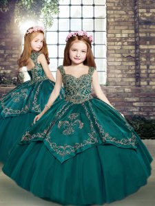 Custom Made Tulle Sleeveless Floor Length Little Girls Pageant Gowns and Beading and Embroidery