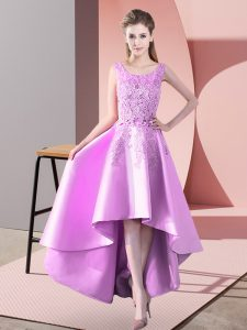 Superior High Low A-line Sleeveless Lilac Quinceanera Court of Honor Dress Zipper