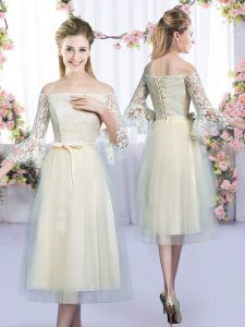 Simple Champagne 3 4 Length Sleeve Tulle Lace Up Court Dresses for Sweet 16 for Wedding Party