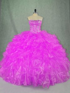 Lilac Ball Gowns Organza Strapless Sleeveless Beading and Ruffles Floor Length Lace Up 15th Birthday Dress