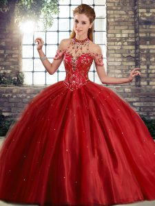 Pretty Wine Red Sleeveless Brush Train Beading Quince Ball Gowns