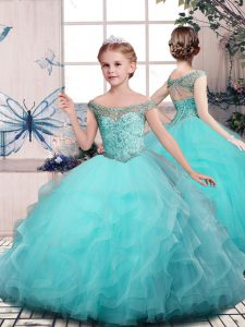 Off The Shoulder Sleeveless Lace Up Pageant Dresses Aqua Blue Tulle