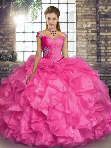 Edgy Hot Pink Sleeveless Floor Length Beading and Ruffles Lace Up 15 Quinceanera Dress