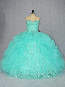Aqua Blue Vestidos de Quinceanera Sweet 16 and Quinceanera with Beading and Appliques Sweetheart Sleeveless Lace Up