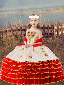 Nice Floor Length Red Little Girl Pageant Gowns Organza Sleeveless Beading and Embroidery and Ruffled Layers