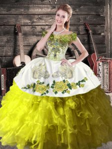 Popular Floor Length Olive Green Vestidos de Quinceanera Organza Sleeveless Ruffles