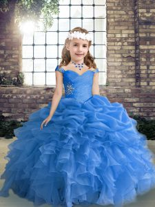 Blue Sleeveless Beading and Ruffles and Pick Ups Floor Length Little Girls Pageant Gowns