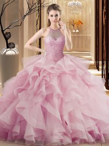 Pink Halter Top Neckline Beading and Ruffles Sweet 16 Quinceanera Dress Sleeveless Lace Up