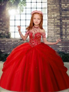 Red Lace Up Little Girls Pageant Dress Beading Sleeveless Floor Length