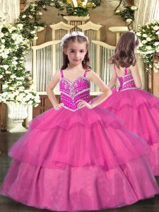 Attractive Straps Sleeveless Lace Up Pageant Gowns Lilac Tulle