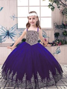 Classical Purple Tulle Lace Up High School Pageant Dress Sleeveless Floor Length Beading and Embroidery