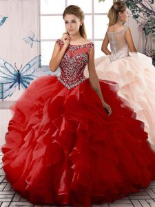 Fantastic Ball Gowns Sweet 16 Dresses Red Scoop Organza Sleeveless Floor Length Zipper