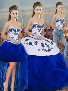Tulle Sleeveless Floor Length Quinceanera Dress and Embroidery and Ruffles and Bowknot