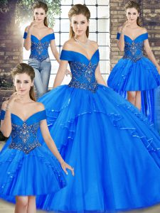 Eye-catching Tulle Off The Shoulder Sleeveless Lace Up Beading and Ruffles Sweet 16 Dress in Royal Blue