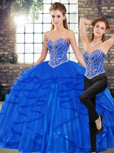 Customized Royal Blue Two Pieces Tulle Sweetheart Sleeveless Beading and Ruffles Floor Length Lace Up Sweet 16 Dresses