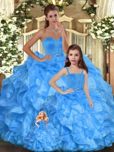 Romantic Baby Blue Ball Gowns Ruffles Quinceanera Dresses Lace Up Organza Sleeveless Floor Length
