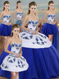 Dazzling Tulle Sweetheart Sleeveless Lace Up Embroidery and Bowknot Vestidos de Quinceanera in Royal Blue