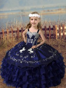 Adorable Sleeveless Floor Length Embroidery and Ruffled Layers Lace Up Pageant Gowns For Girls with Purple