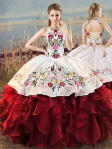 Embroidery and Ruffles Quinceanera Dresses White And Red Lace Up Sleeveless Floor Length