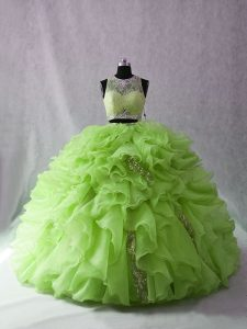Sumptuous Sleeveless Beading and Ruffles Zipper Quinceanera Dress with Brush Train