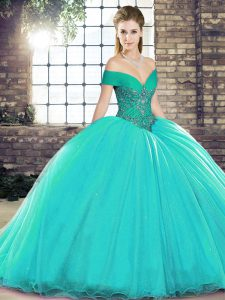 Sleeveless Beading Lace Up Quinceanera Dress with Turquoise Brush Train
