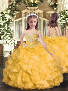 Eye-catching Gold Lace Up Little Girls Pageant Dress Wholesale Beading and Ruffles Sleeveless Floor Length