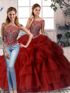 Wine Red Two Pieces Beading and Pick Ups Ball Gown Prom Dress Zipper Organza Sleeveless
