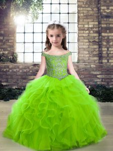 Sleeveless Floor Length Beading and Ruffles Zipper Pageant Dress for Girls with