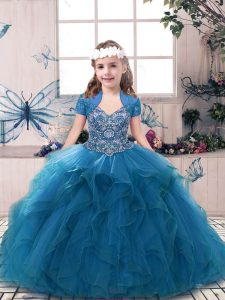 Blue Tulle Lace Up Straps Sleeveless Floor Length Little Girl Pageant Gowns Beading and Ruffles