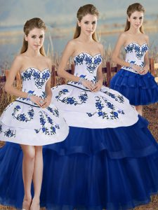 Pretty Royal Blue Sweetheart Lace Up Embroidery and Bowknot Quinceanera Dresses Sleeveless