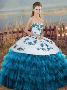 Sophisticated Blue And White Organza Lace Up 15th Birthday Dress Sleeveless Floor Length Embroidery and Ruffled Layers and Bowknot