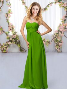 Green Sleeveless Chiffon Criss Cross Court Dresses for Sweet 16 for Wedding Party