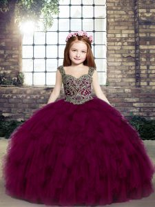 Ball Gowns Pageant Dress for Teens Fuchsia Straps Tulle Sleeveless Floor Length Lace Up