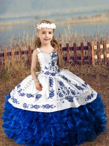 Amazing Straps Sleeveless Lace Up Girls Pageant Dresses Royal Blue Organza