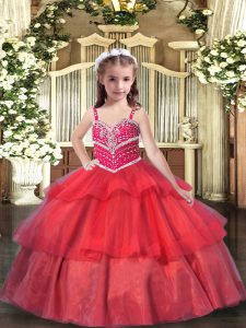 Ball Gowns Little Girl Pageant Gowns Red Straps Organza Sleeveless Floor Length Lace Up