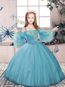 Hot Sale Blue Tulle Lace Up Kids Formal Wear Sleeveless Floor Length Beading