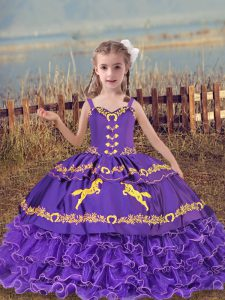 Stunning Lavender Sleeveless Organza Lace Up Little Girls Pageant Gowns for Wedding Party
