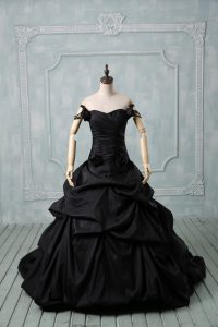 Pretty Taffeta Sleeveless Quinceanera Gown Brush Train and Pick Ups and Hand Made Flower