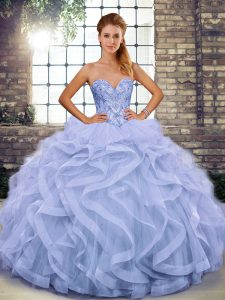 Cute Sweetheart Sleeveless Lace Up 15th Birthday Dress Lavender Tulle