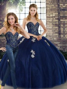 Colorful Navy Blue Sweetheart Neckline Beading and Appliques Quinceanera Dresses Sleeveless Lace Up