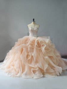 Beautiful Sleeveless Beading and Ruffles Lace Up 15 Quinceanera Dress with Champagne and Pink And White Brush Train
